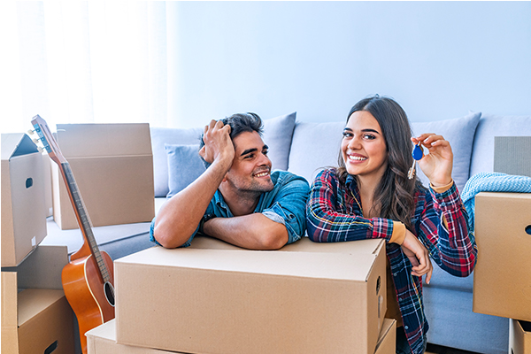 Couple celebrates move in their home