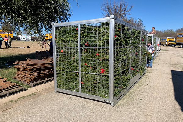 A Zippy Shell mesh container with wreaths stored inside