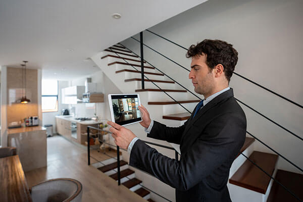 A real estate agent does a virtual home tour